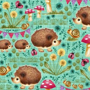 Hedgehog Garden Party - Teal