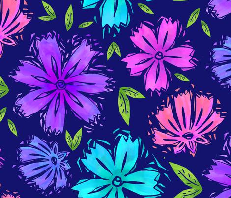CHICORY - Multi on Indigo fabric by linodono on Spoonflower - custom fabric