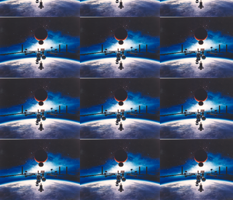 Space station freedom fabric thistletown spoonflower for Space station fabric