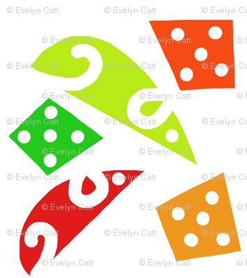 Mice and Dice Red Green Orange