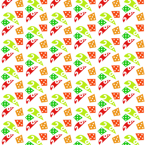 Mice and Dice Red Green Orange fabric by eve_catt_art on Spoonflower - custom fabric