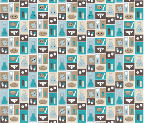 Happy Pharmacy Friends - Brown & Teal fabric by clayvision on Spoonflower - custom fabric