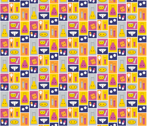 Happy Pharmacy Friends - Royal Blue, Yellow, Dark Pink fabric by clayvision on Spoonflower - custom fabric
