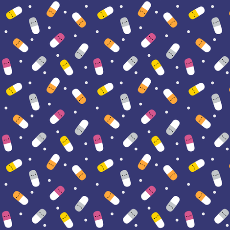Happy Pills - Royal Blue fabric by clayvision on Spoonflower - custom fabric