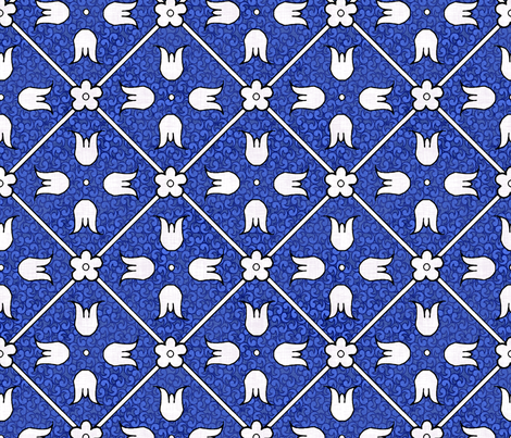 Medieval Deck Pattern Blue fabric by pond_ripple on Spoonflower - custom fabric