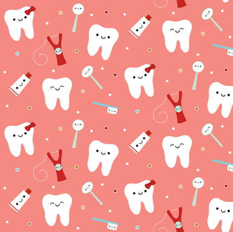 Happy Teeth & Friends - Salmon fabric by clayvision on Spoonflower - custom fabric