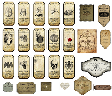 Potion Labels fabric by doopadiapies on Spoonflower - custom fabric