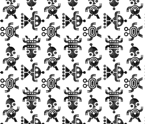 Robots ink fabric by heleen_vd_thillart on Spoonflower - custom fabric