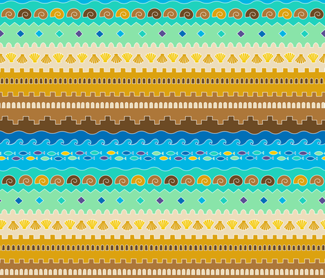 Tribal sandcastle (color) fabric by analinea on Spoonflower - custom fabric