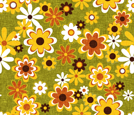 Retro Geo Flowers fabric by thecalvarium on Spoonflower - custom fabric