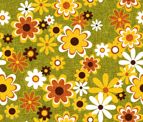 Retro Geo Flowers fabric by thecalvarium on Spoonflower - custom fabric