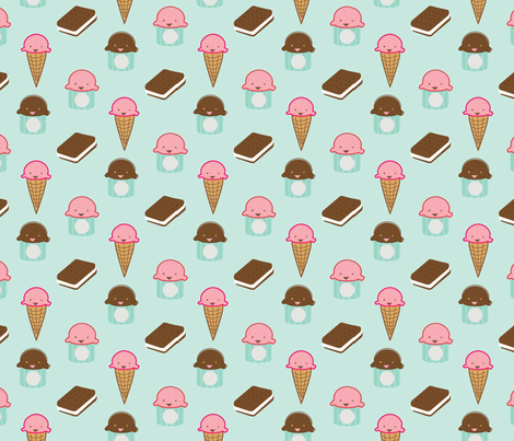 Minty Ice Cream Social fabric by pixabo on Spoonflower - custom fabric