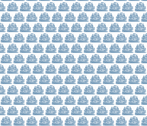Broadside Ships Blue fabric by amyvail on Spoonflower - custom fabric