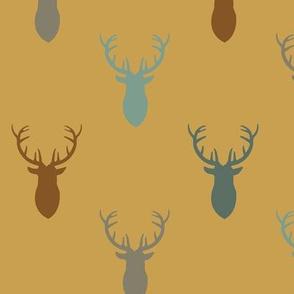 Gold Blue Gray Deer in Fall