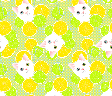Lemonade Kitties fabric by bliss_and_kittens on Spoonflower - custom fabric