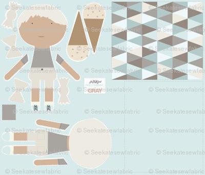 BOY Doll Fabric - Grey + Quilt