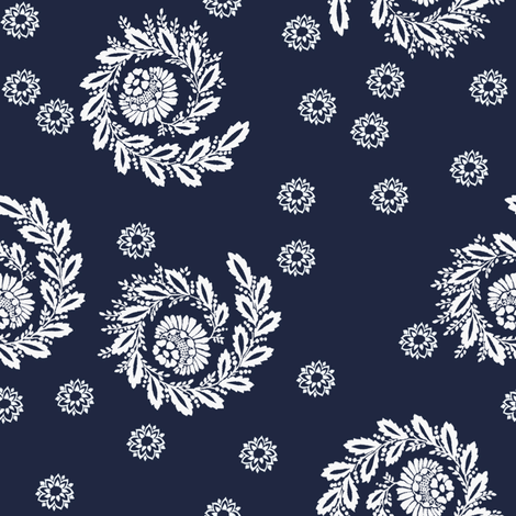 Cate Wildflowers in atlantic navy fabric by lilyoake on Spoonflower - custom fabric