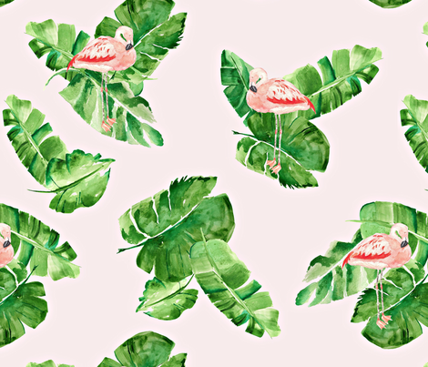 Banana Leaves And Flamingos Fabric By Wrensroost On Spoonflower