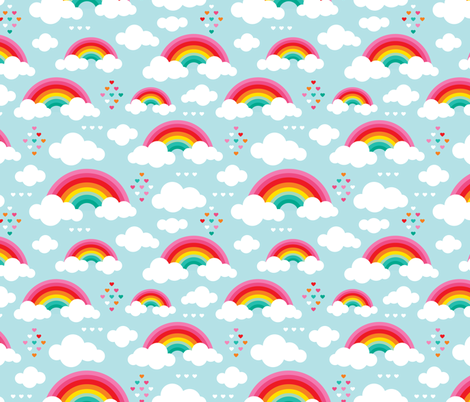 Cloudy blue sky rainbow dreams Large fabric by littlesmilemakers on Spoonflower - custom fabric