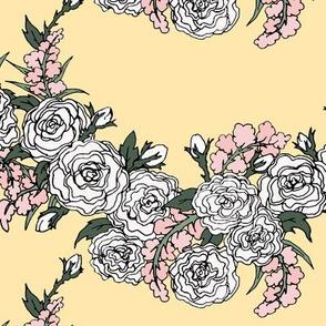 Pastel Roses & Lavender Chevron