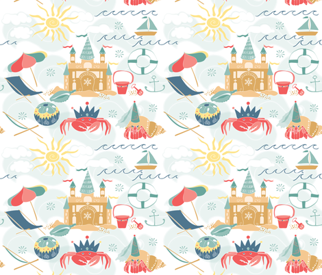 Sandcastle Delight fabric by onelittleprintshop on Spoonflower - custom fabric