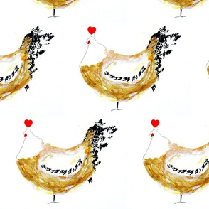 'Dancing Hens' Master Fabric Design