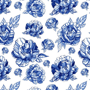 pattern with blue peonies