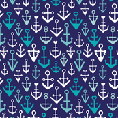 Blue aqua anchors ocean sailor and marine theme kids illustration print