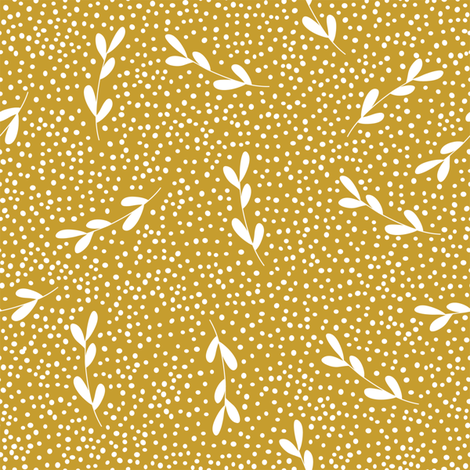gold leaf branches dots leaves leaf pattern  fabric by deniseanne on Spoonflower - custom fabric