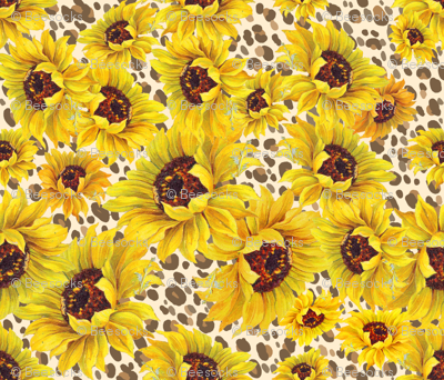 sunflower shower on sand leopard