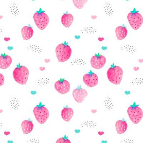 Hot summer strawberry garden pink water colors illustration pattern print