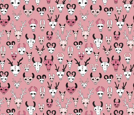 Skulls reindeer moose goat and other animals western hunt theme for creepy fashion and halloween coral pink fabric by littlesmilemakers on Spoonflower - custom fabric
