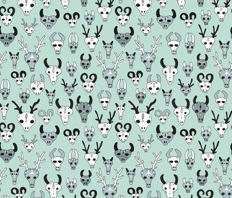 Skulls reindeer moose goat and other animals western hunt theme for creepy fashion and halloween mint fabric by littlesmilemakers on Spoonflower - custom fabric