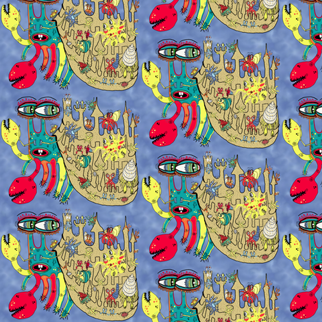 Downton Crabbey, small scale, blue yellow red green teal fabric by amy_g on Spoonflower - custom fabric