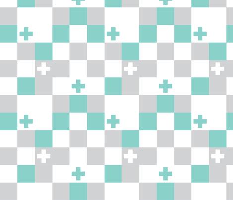 SquareCross Aqua1 fabric by radgedesign on Spoonflower - custom fabric