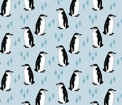 Preppy Penguin - Light Blue fabric by mettedaring on Spoonflower - custom fabric