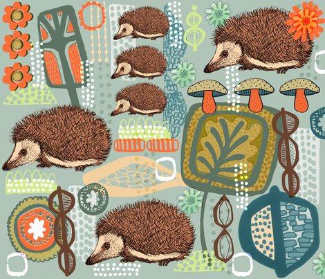 A Haven for Hedgehogs fabric by slumbermonkey on Spoonflower - custom fabric