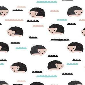 Adorable gender neutral woodland hedgehog illustration pattern for kids
