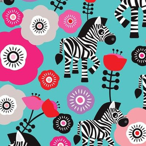 Cute colorful zebra zoo animals and flower garden african kids theme illustration pattern