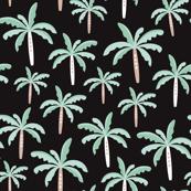 Summer palm tree beach coconut pastel bikini tropics illustration print in mint and black