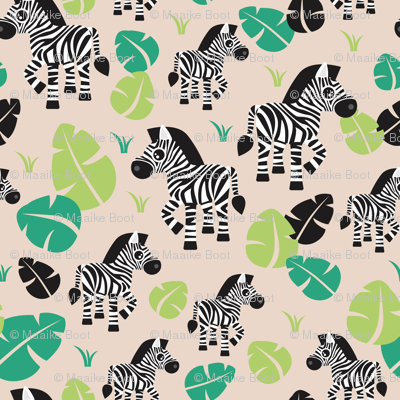 Tropical zebra horse safari illustration print for kids for Animal print fabric for kids