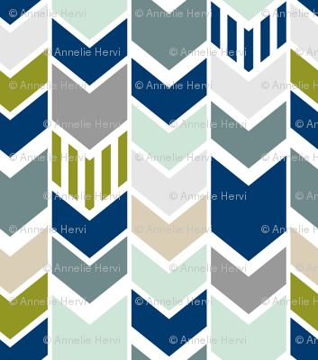 Navy Gray Green Chevron