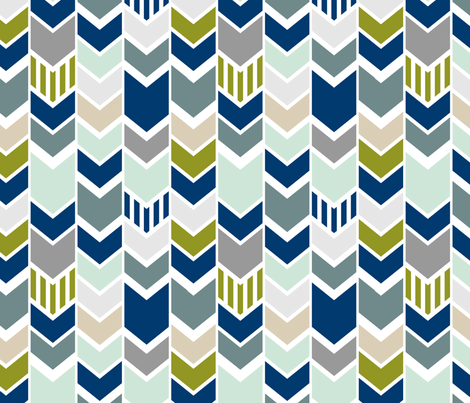 Navy Gray Green Chevron fabric by mrshervi on Spoonflower - custom fabric