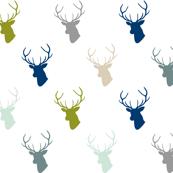 Navy Gray Green Deer