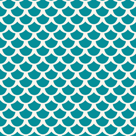 Small Scales Blue & White for Mermaids fabric by lauriekentdesigns on Spoonflower - custom fabric