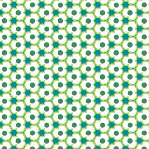 Blue, White & Green Flower Small Pattern