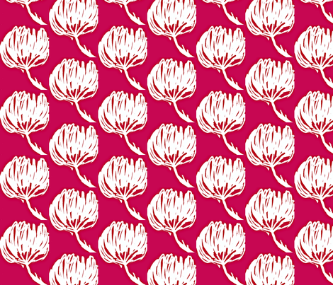 Water Flowers/Red and White fabric by menny on Spoonflower - custom fabric