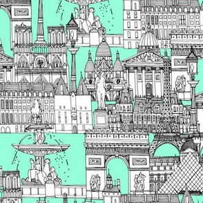 Paris toile aquamarine