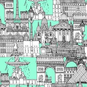 Paris toile aquamarine