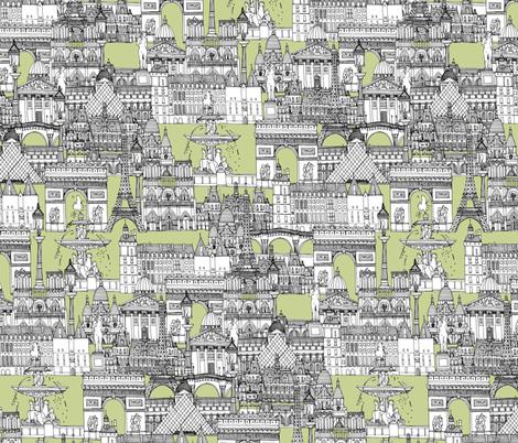 Paris toile eau de nil fabric by scrummy on Spoonflower - custom fabric